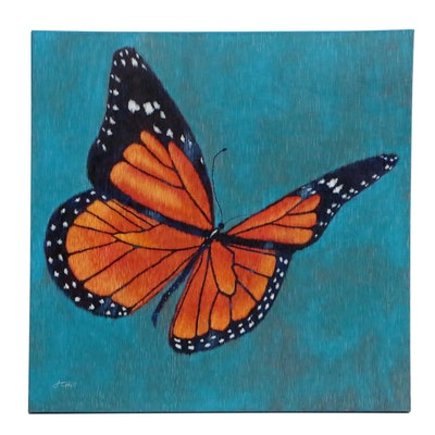 "J.C. Hall Lineallist Acrylic Painting ""Mom's Monarch"""