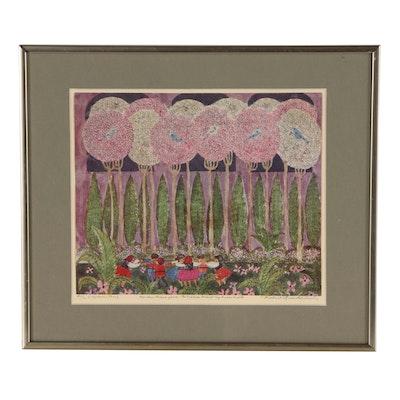 "Robert Mead Quackenbush Offset Lithograph ""Garden Scene"""