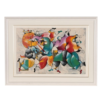 "David Schluss Serigraph ""Midnight Celebration"", 1995"