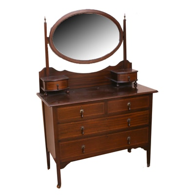 Federal-Style Inlaid Mahogany Dresser with Mirror, Early 20th Century