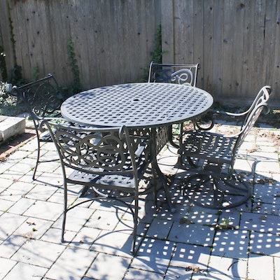 Black Painted Cast Iron Patio Table and Chairs, Mid to Late 20th Century