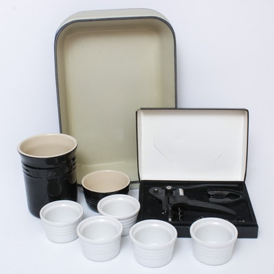 Le Creuset Enamel Cast Iron Roasting Dish, Stoneware and Corkscrew