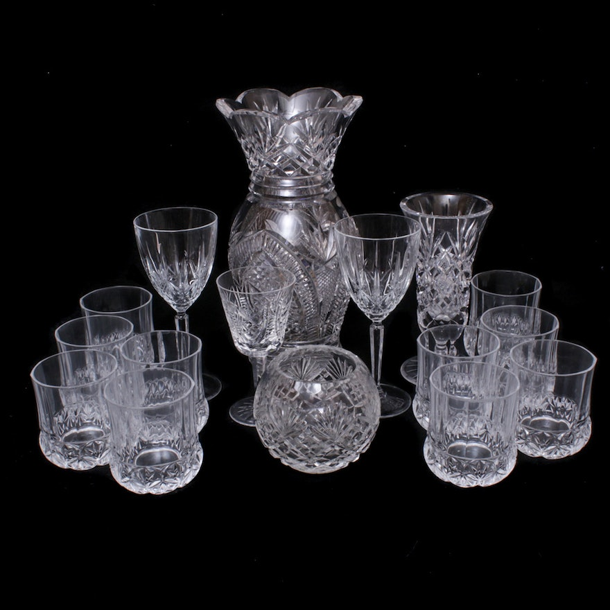 Waterford, Dingle and Other Crystal Stemware, Vases and Old Fashioned Glasses