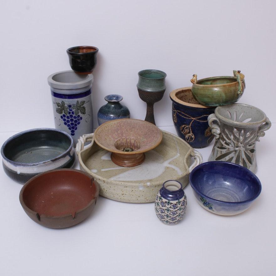 Art Pottery Vessels and Stoneware Crocks Including Robinson Ransbottom