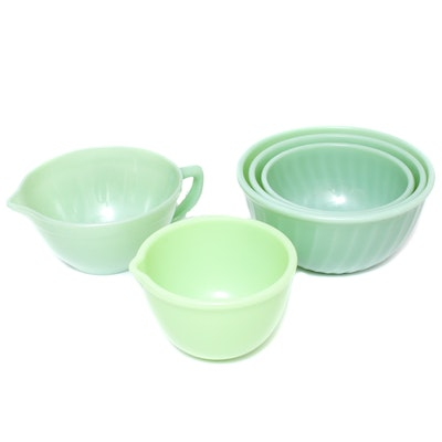 Fire-King Jadeite Mixing Bowls, Mid-Century
