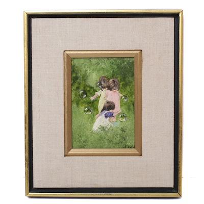 "Phyllis Cubb Acrylic Painting ""Bubbles"""