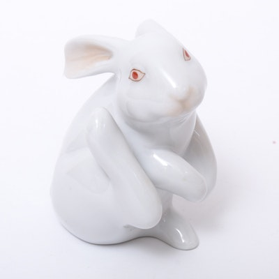"Herend White ""Scratching Bunny"" Porcelain Figurine, December 1997"