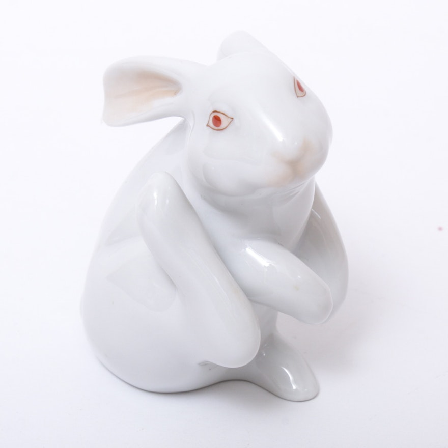 """Herend White """"Scratching Bunny"""" Porcelain Figurine, December 1997"""