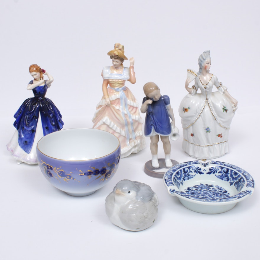 "Royal Doulton ""Laura"", Bing & Grøndahl and Other Porcelain Figurines and Bowls"