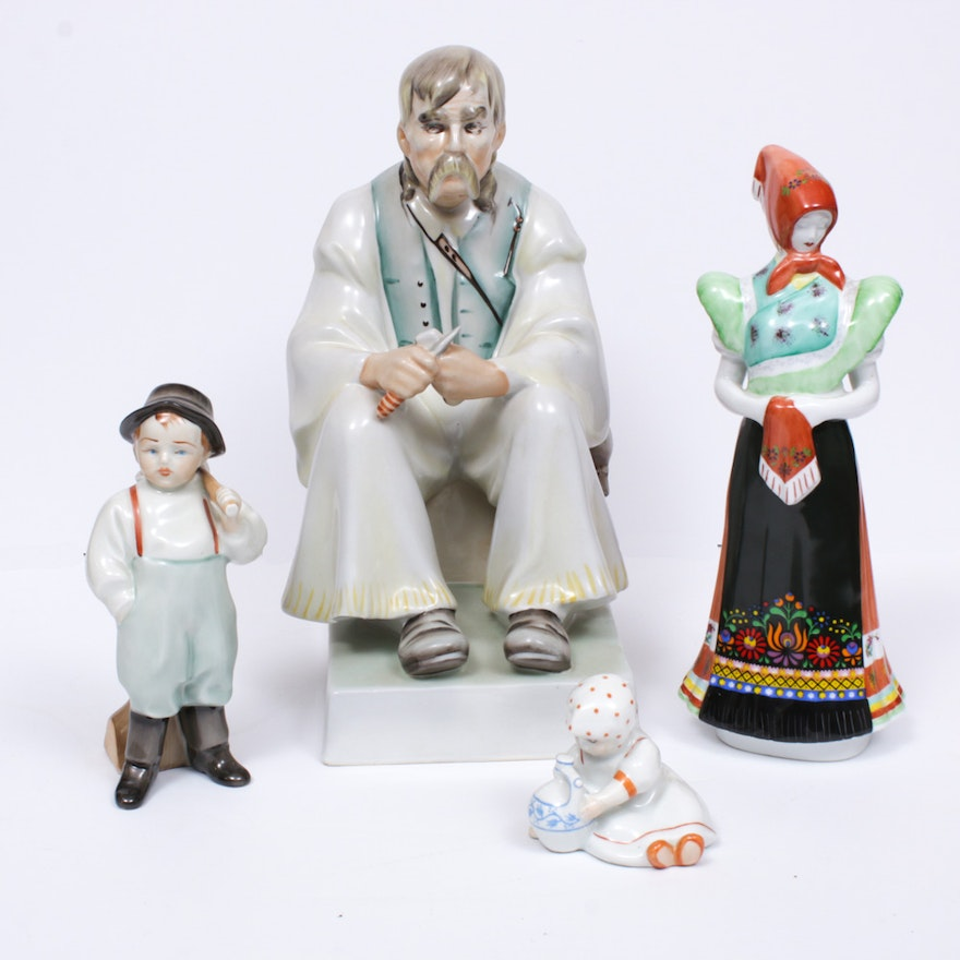 Zsolnay Pecs and Hollóháza Porcelain Figurines, Vintage