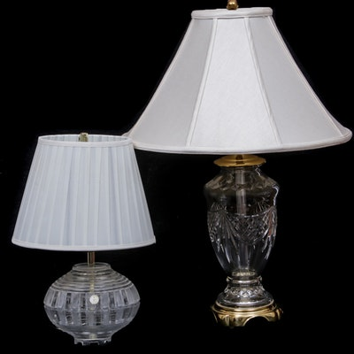 Waterford Cut Crystal and Brass Table Lamp with German Lead Crystal Lamp