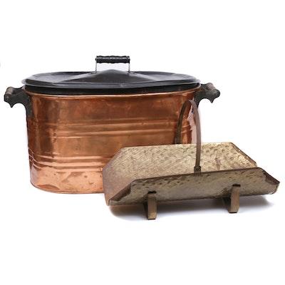 Copper Wash Bucket and Brass Log Holder, Vintage