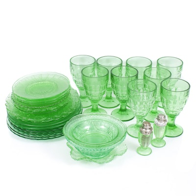 "Colonial ""Block Optic"" Depression Glass Goblets and Other Glass Dinnerware"