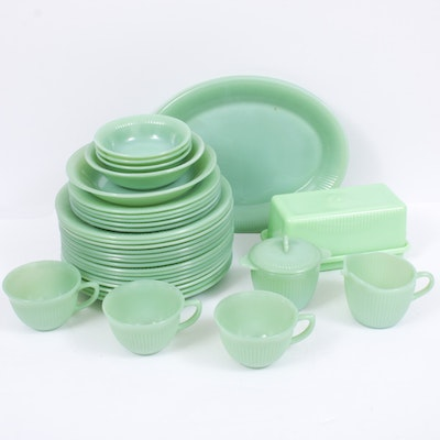 "Fire-King ""Jane Ray"" Jadeite Glass Tableware, Mid-Century"