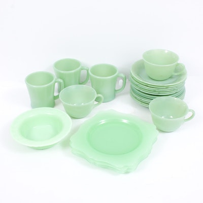 "Fire-King ""Alice"" Jadeite Glass Saucers and Other Jadeite Glass Dinnerware"