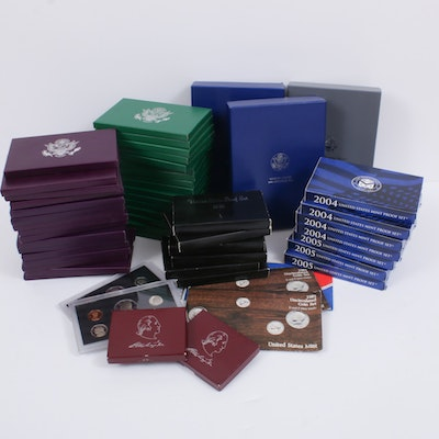 Forty-Seven U.S. Mint Proof Sets Ranging from 1980-2005, Including Prestige Sets