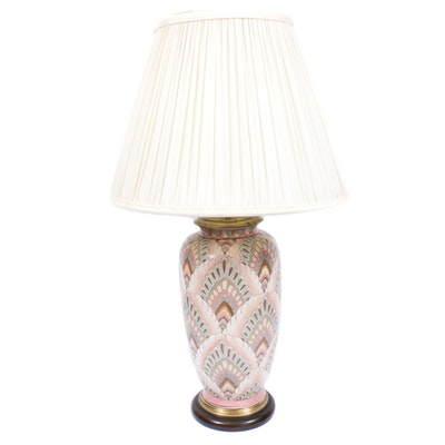 Wildwood Polychrome Porcelain Ginger Jar Table Lamp, Late 20th Century