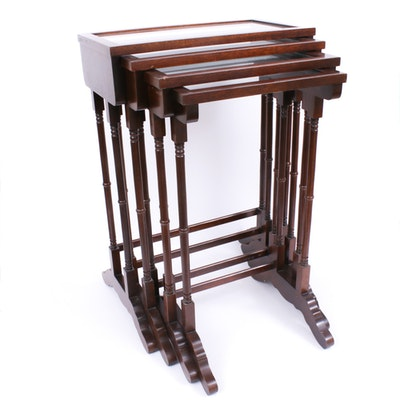 Brandt, Traditional Style Mahogany Set of Four Nesting Tables