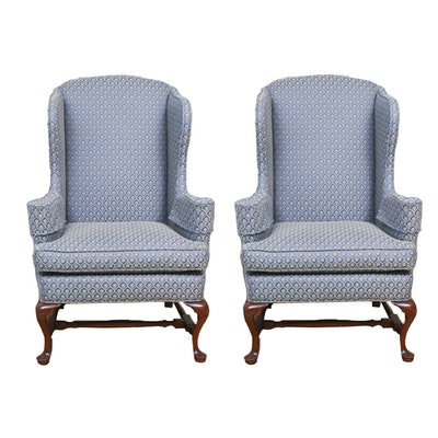 Queen Anne-Style Wing Back Jacquard Upholstered Chairs, Contemporary