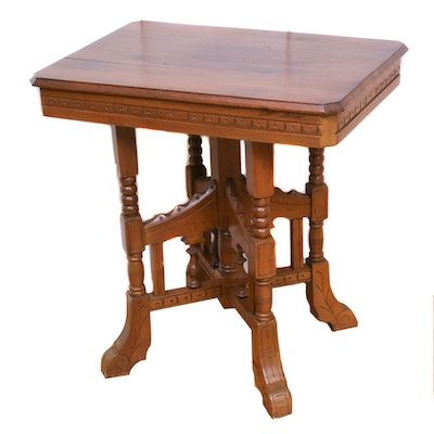 Victorian Eastlake Walnut End Table, Late 19th Century