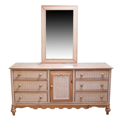 Lexington Furniture Pine and Wicker Dresser and Mirror