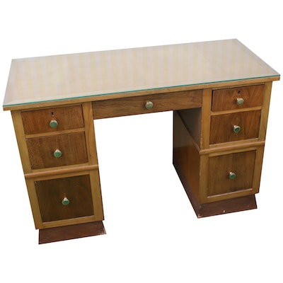 Glass-Top Knee Hole Desk, Mid 20th Century