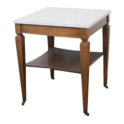 Italian Marble-Top End Table, Mid 20th Century