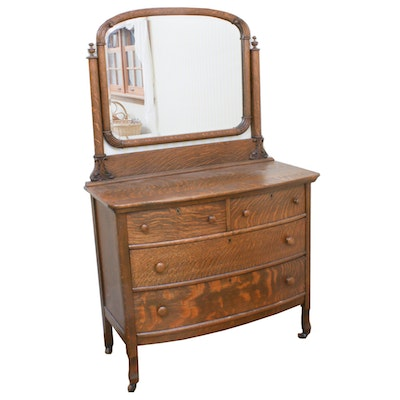 Late Victorian Quarter-Sawn Oak Bow-Front Dresser with Mirror, Circa 1900