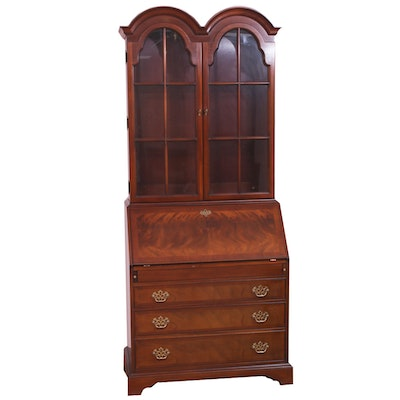 Hickory Chair Chippendale-Style Mahogany Secretary with Illuminated Cabinet