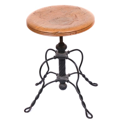 Victorian Wrought Metal and Oak Ice Cream Parlor Stool, Late 19th Century