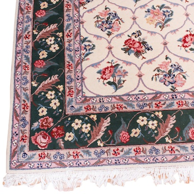 9'10 x 14'5 Hand-Knotted Floral Room-Size Wool Rug