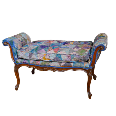 Louis XV Style Crazy Quilt Upholstered Bench, Late 19th/Early 20th Century
