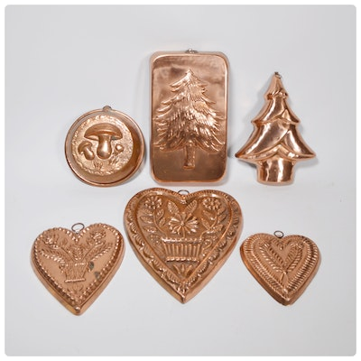 Copper Heart Molds and Tree Molds, Mid-Century