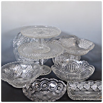 Cut Glass Cake Plates and Serveware Bowls, Vintage