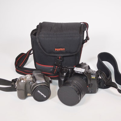 Minolta SLR Camera and Olympus Digital Camera