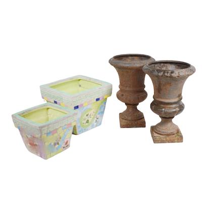 Metal Urns, Mosaic Planters and Metal Pots