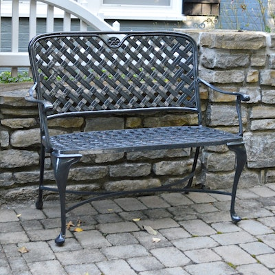 Gloss Black Iron Patio Bench, Contemporary