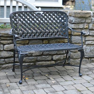 Gloss Black Iron Patio Bench, Contemporary