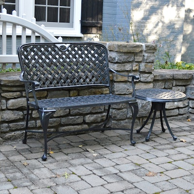 Gloss Black Iron Patio Bench with Occasional Table, Contemporary