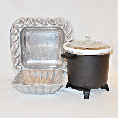 Rival Slow Cooker with Mariposa Aluminum Serving Bowl and Other Serving Dish