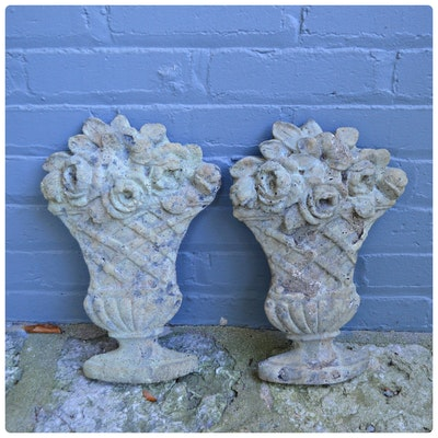 Pair of Concrete Floral Wall Decor, Antique