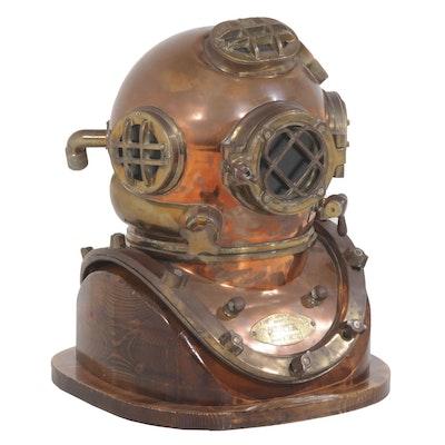 "Reproduction U.S. Navy ""Mark V"" Diving Helmet on Custom Wood Base, Vintage"