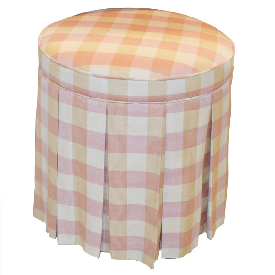 Plaid Skirted Vanity Stool, Late 20th Century