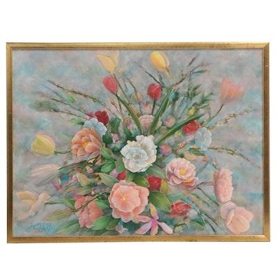 "J.C. Hall Acrylic Painting ""Dena's Tulips"""