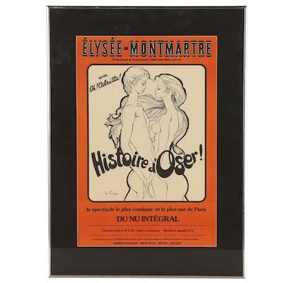 """Élysée-Montmartre """"Histoire d'Oser"""" Lithographic Poster, 1975"""