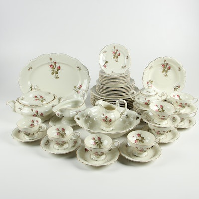 "Rosenthal ""Moss Rose"" Porcelain Dinnerware for Eight, Mid-Century"