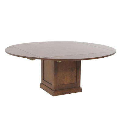 Locking Maple Drop-Leaf Pedestal Dining Table, Contemporary