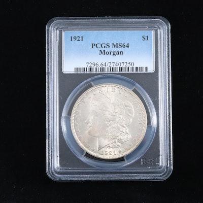 PCGS Graded MS64 1921 Silver Morgan Dollar