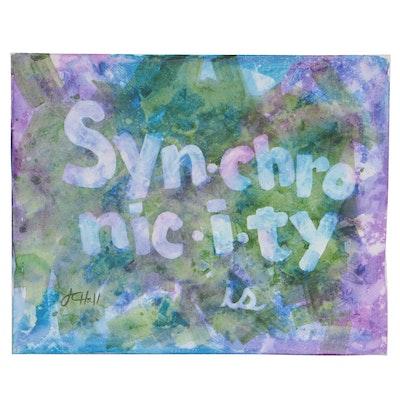 "J.C. Hall Typographic Acrylic Painting ""Synchronicity"""