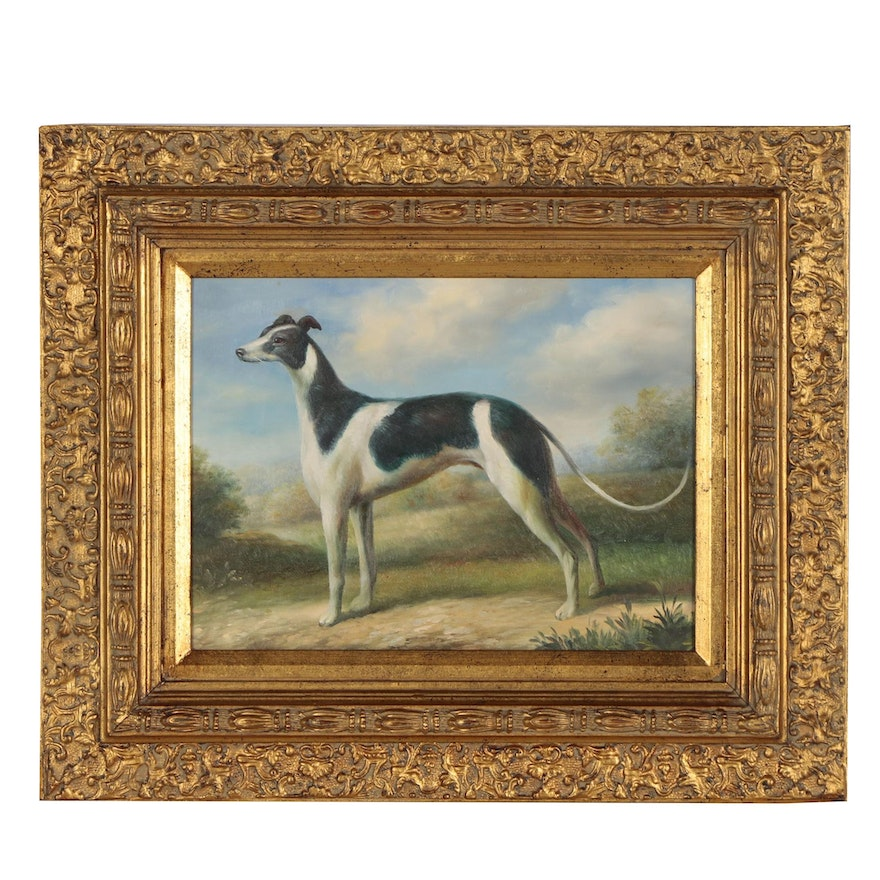 Oil Painting of Greyhound Dog